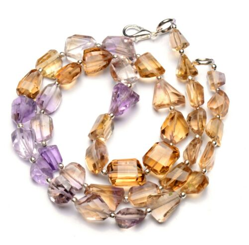 Natural Gem Brazil Ametrine Faceted Nugget Beads Necklace 20 Inch 195Cts.