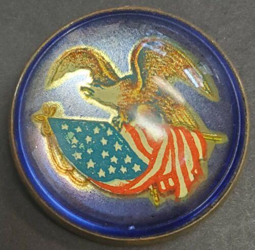 Vintage Glass Dome Brass Rosette, U.S. Patriotic Eagle Brooch