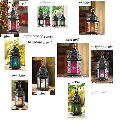 stained glass punched metal Moroccan garden Lantern Candle holder wholesale 10