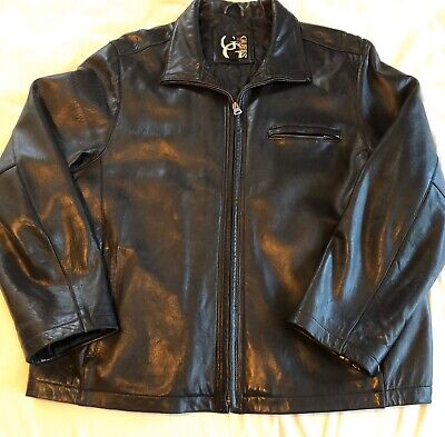 GUESS Black Leather Jacket, Men's Size XL