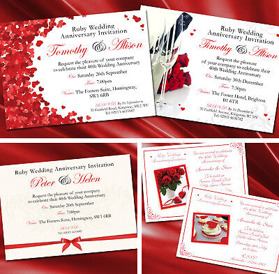 40th Wedding Anniversary Invitations - Personalised Ruby 40th Wedding Anniversary Invitations Invites