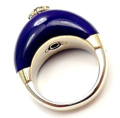 Rare! Christian Dior 12k White Gold Enamel Diamond Sapphire Cocktail Ring Size 7