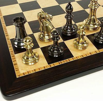 BRASS Black Gold Staunton Exclusive Chess Set Lrg 20