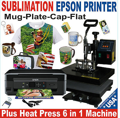 6 in 1 HEAT PRESS TRANSFER SUBLIMATION T-SHIRT HAT MUG 15 X 15 + PRINTER EPSON