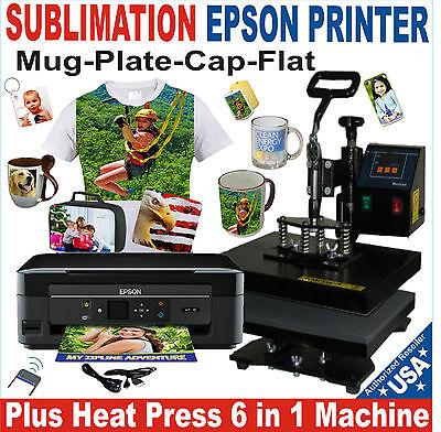 6 In 1 Heat Press Transfer Sublimation T-shirt Hat Mug 15 X 15 Printer Epson