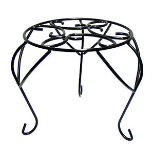 Pot Stand Plant Holder Riser Metal Plinth Garden Art Black Tall *26cm*
