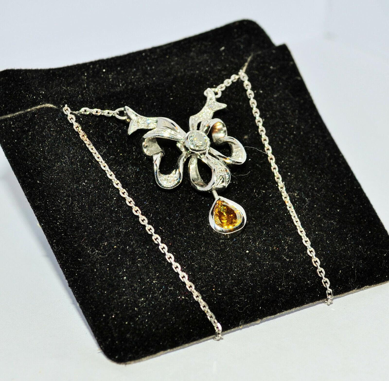 Weißgold 585 Collier mit Brillanten 0,80 Ct Art Deco