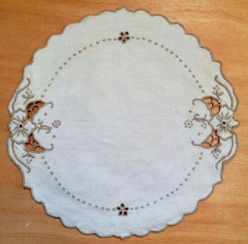 "Antique Madeira Work Embroidery Round Goblet Doily Home Decor Beige Linen 7.5"""