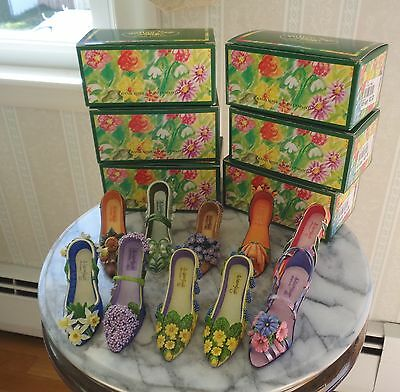 Lot of 10 Willow Hall Floral Fantasy Miniature Shoes - Monthly Blossoms