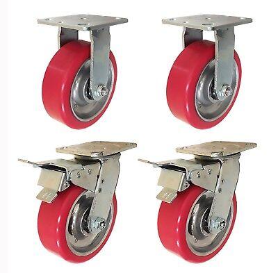 6 X 2 Aluminum Wheel Casters - 2 Swivel With Total Lock Brake 2 Rigid