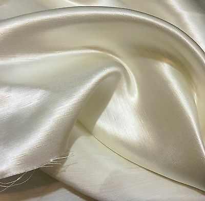 """Off White (Ivory) Linen Silk Satin Fabric 45"""" Wide By The Yard"""