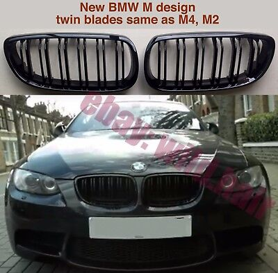 BMW e92/e93/M3 coupe/convertible,double bars,gloss black,M4 style kidney grilles