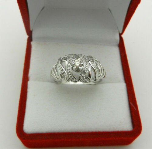 Vintage 585 (14k) White Gold Natural Diamond Russian Ring with Accent 4.4 gr