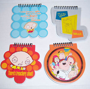 Family-Guy-Set-of-4-Different-Die-Cut-Memo-Books-Mint-New-Condition