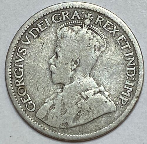 1915 CANADA 10 Cent Silver Dime King George V RARE !! LOW MINTAGE 688,057 !!