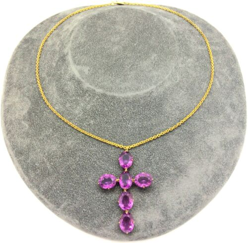 Antique Edwardian Gilded Faux Amethyst Glass Cross Pendant on Chain