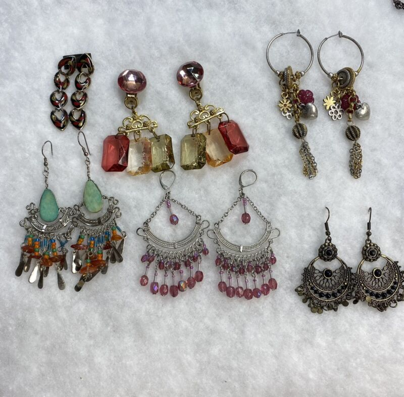 Estate Find Extreme Dangle Earring Lot x 6 Used