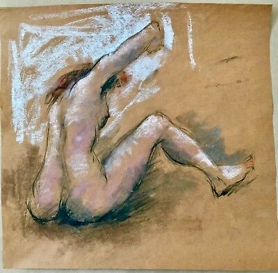 EXQUISITE ART PAINTING NUDE PASTEL ABSTRACT RARE DRAWING AFTER HANS BURKHARDT