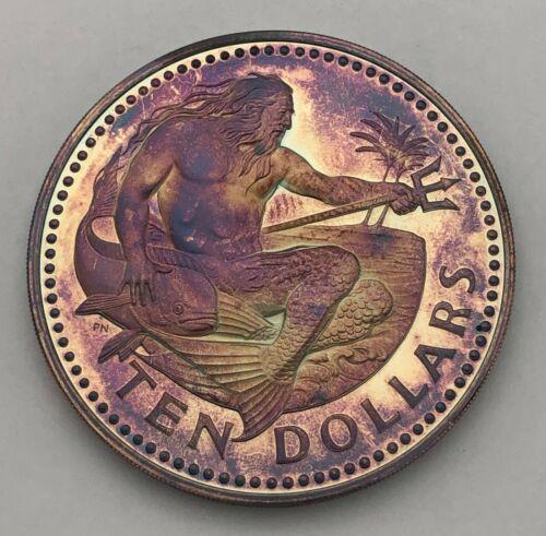1979 BARBADOS 10 TEN DOLLARS SILVER RAINBOW MONSTER UNC TONED PROOF COLOR (MR)