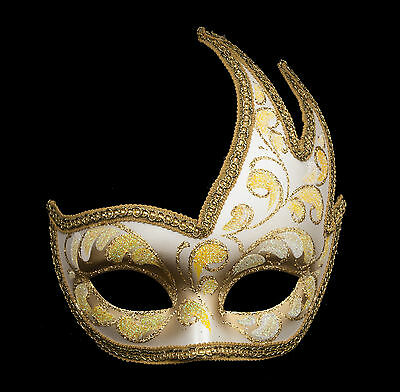 MASK COSTUME WOLF FROM VENICE COLOMBINE SWAN ANNA YELLOW GOLDEN 329 V83