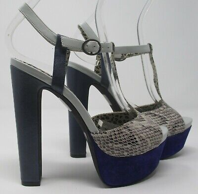 NEW Jessica Simpson size 3 (36) US 6 blue & grey leather high heel t bar sandals