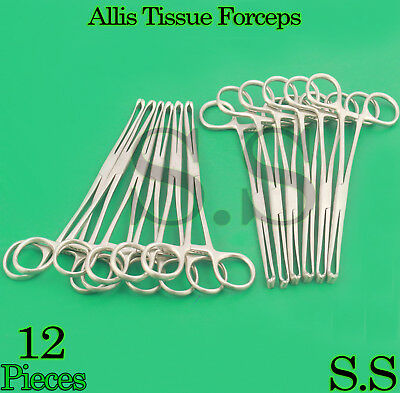 12 Allis Tissue Forcep 6 4x5 Teeth Surgical Instrumets