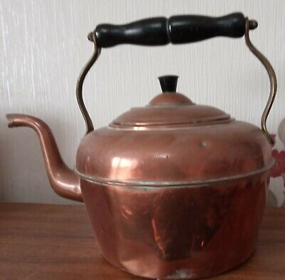 Vintage Gooseneck round copper kettle with wood & brass handle 8