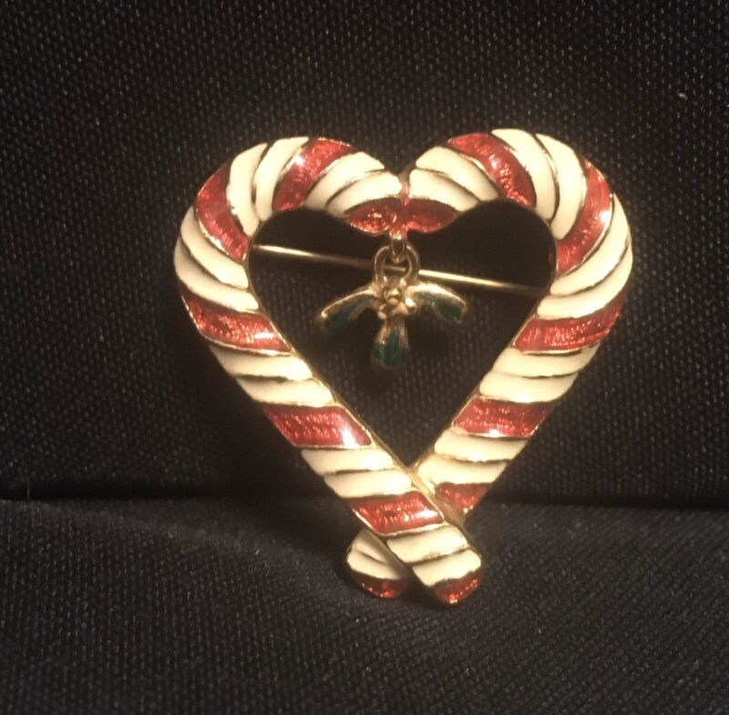 Vintage Candy Cane Goldtone Enamel Christmas Holiday Pin Brooch