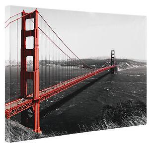 golden gate bridge canvas print red wall art picture large. Black Bedroom Furniture Sets. Home Design Ideas