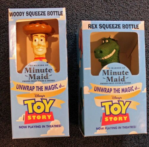 Toy Story Minute Maid Promotional Collector Woody & Rex Squeeze Bottles!