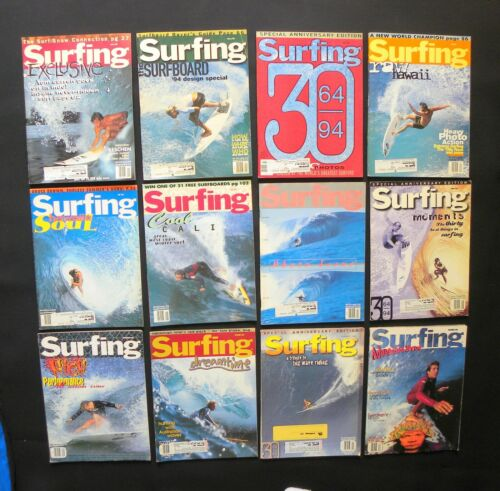 SURFING MAGAZINE 1994 VOL.30  LOT OF 12 ISSUES SURFER LONGBOARDING  HAWAII