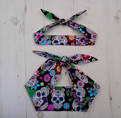 Matching Mum & Baby Head Scarf Black Mexican Candy Skull Tattoo Bandana Gift Set
