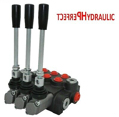 3 Spool Hydraulic Directional Control Valve 11gpm 40l 1x Single 2x Double Acting
