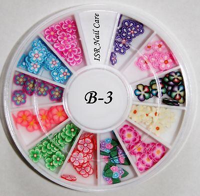Fimo Blumen im Rondell Nail Art Nagel Design Dekoration Maniküre Nageldesign ()