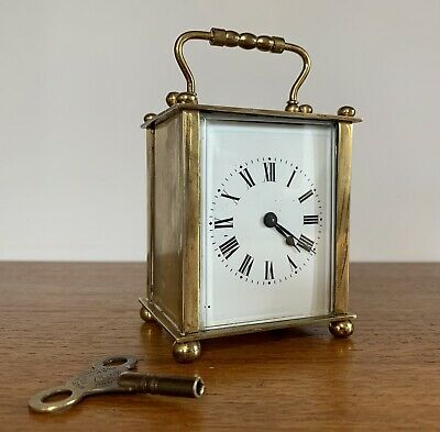 Vintage French Brass Carriage Clock Bevelled Glass - Fully Working