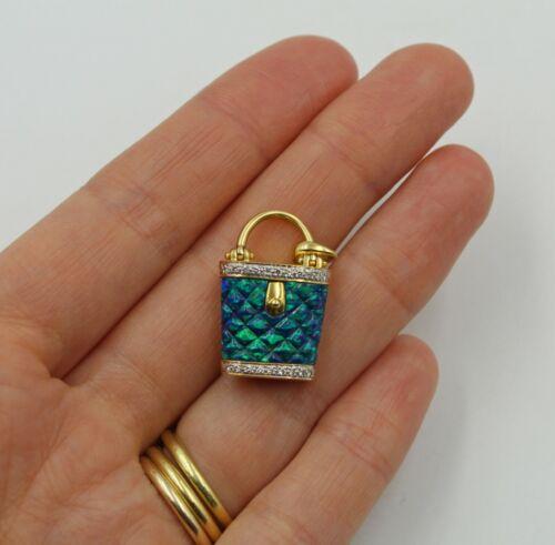 Vintage Carved Opal Diamond 18K Yellow Gold Purse Handbag Pendant or Charm