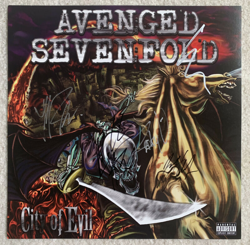 """2005 AVENGED SEVENFOLD A7X COMPLETE BAND SIGNED 12"""" PROMO POSTER / THE REV AUTH!"""