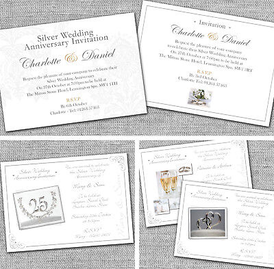 Personalised Silver 25th Wedding Anniversary Invitations Invites (25th Wedding Anniversary Invitations)