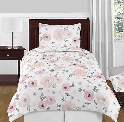 Euphonic Jojo Shabby Chic Blush Pink Grey Watercolor Floral Girls Twin Bedding Set
