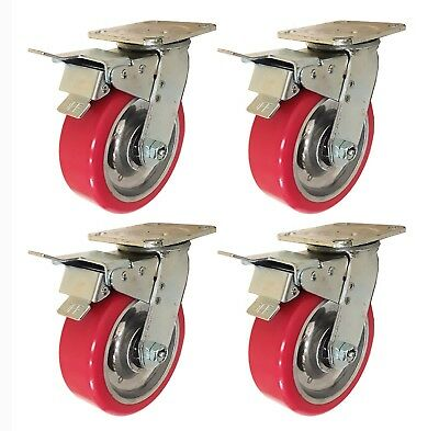 6 X 2 Aluminum Wheel Casters - 4 Swivels With Total Lock Brake