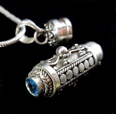 Handmade 925 Sterling Silver Poison Pill Prayer Box/Urn Pendant Blue Topaz BALI - Handmade Prayer Box Pendant