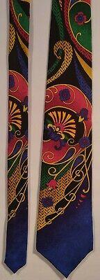 Vtg Power Line Electric Neckwear USA Bright Multicolor Floral Paisley Silk Tie ()