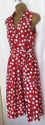 Jessica Howard Red White Polka Dot Dress 1950s Inspired Fit & Flare Uk12