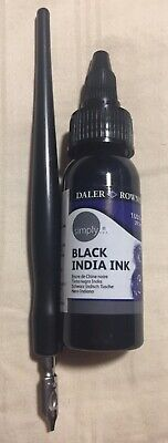 Daler Rowney Simply Calligraphy Black India Ink and No. 3 Pen - 1 oz.
