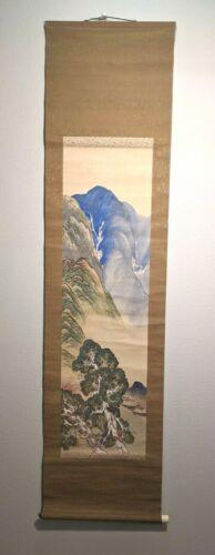 Japanese Hanging Scroll Vtg Kakejiku Kakemono Painting Mountainside town A4