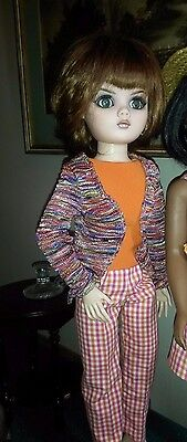 Cissy -  Colors of Raspberry and Orange in Pants, Shell and Cardigan Outfit