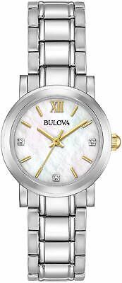 Bulova Women's Quartz Diamond Accents Silver-Tone 26mm Watch 98P164