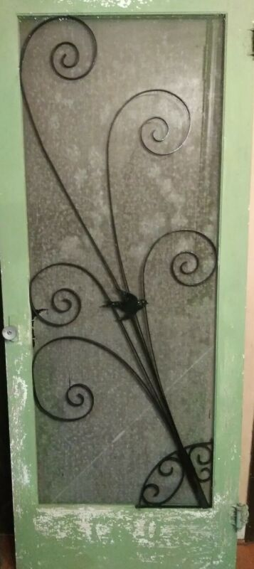 Vintage Screen Door w/Bird Scroll Guard Grill Protector Mid-Century Decorative