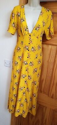 New Bershka Mustard Yellow Size S 8 10 Plunge Midi Dress Zara Button Through