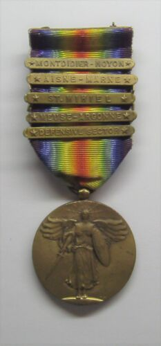 VINTAGE WW I Victory Medal with 5 Battle Bars MONTDIDIER-NOYON